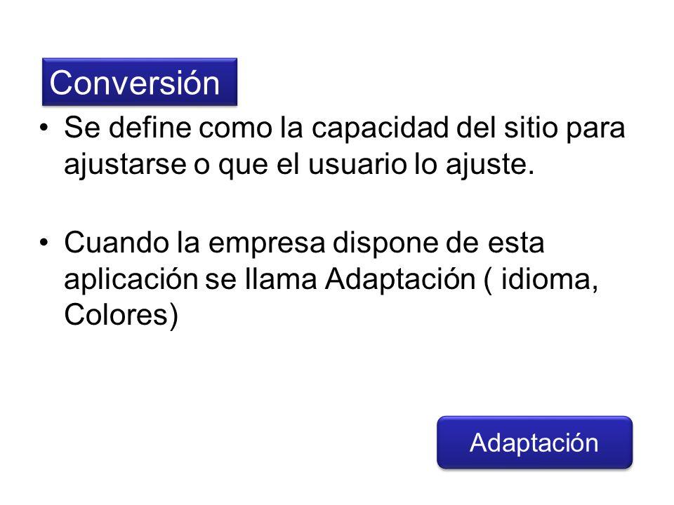Se define como la capacidad del sitio para ajustarse o que el usuario lo ajuste. Cuando la empresa dispone de esta aplicación se llama Adaptación ( id