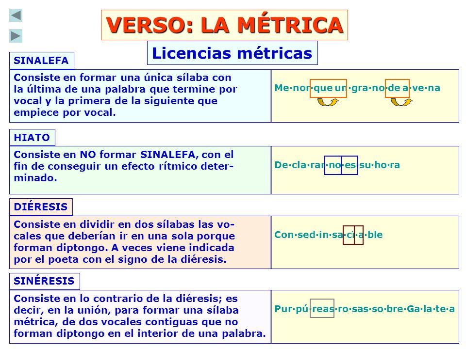 LA MÉTRICA: Clases de versos ARTE MENOR: Aquellos que tienen 8 sílabas o menos.