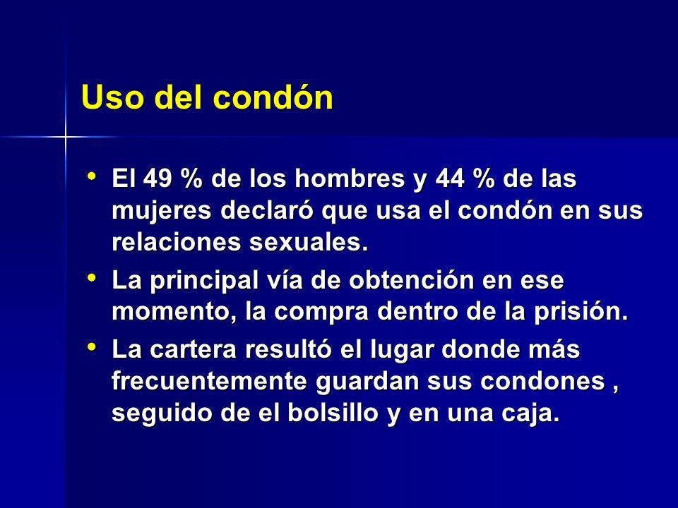 El 49 % de los hombres y 44 % de las mujeres declaró que usa el condón en sus relaciones sexuales. El 49 % de los hombres y 44 % de las mujeres declar