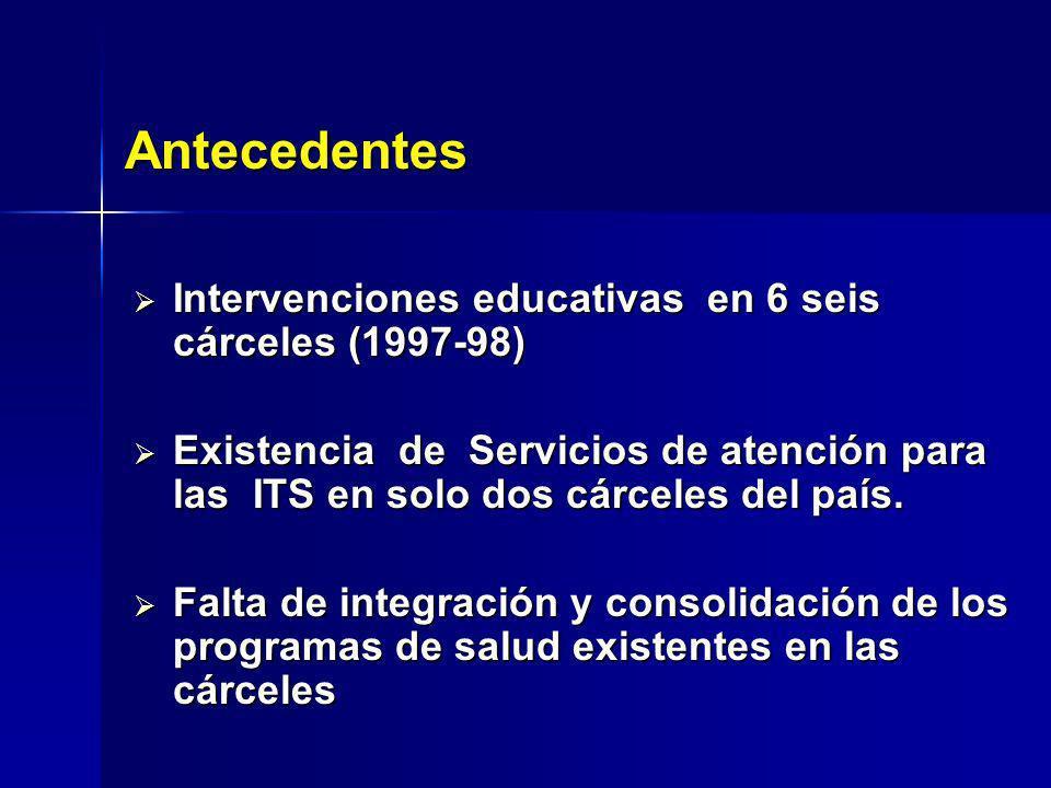 Intervenciones educativas en 6 seis cárceles (1997-98) Intervenciones educativas en 6 seis cárceles (1997-98) Existencia de Servicios de atención para