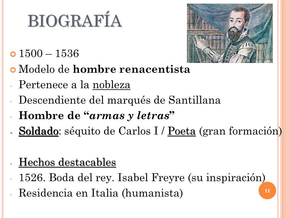 BIOGRAFÍA 1500 – 1536 Modelo de hombre renacentista - Pertenece a la nobleza - Descendiente del marqués de Santillana - Hombre de armas y letras - Sol