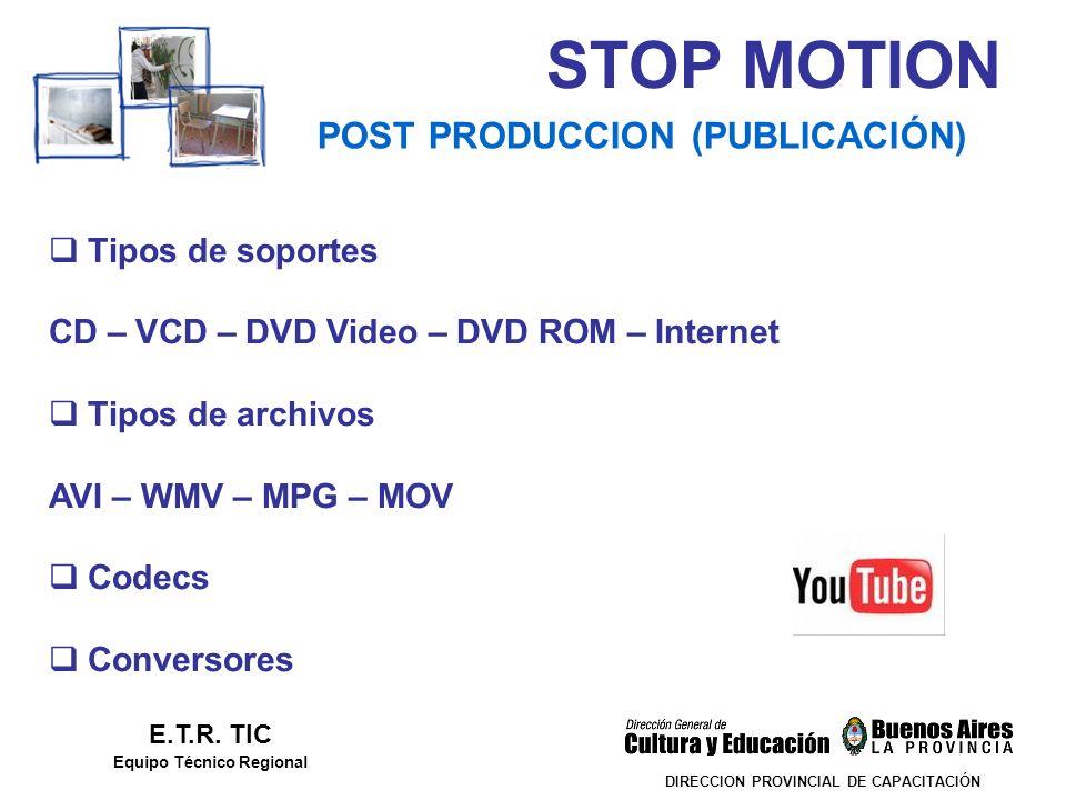 STOP MOTION DIRECCION PROVINCIAL DE CAPACITACIÓN POST PRODUCCION (PUBLICACIÓN) E.T.R. TIC Equipo Técnico Regional Tipos de soportes CD – VCD – DVD Vid