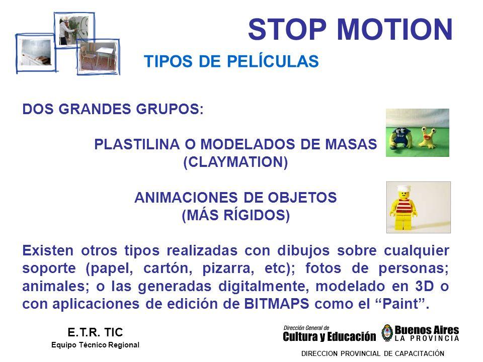 STOP MOTION DIRECCION PROVINCIAL DE CAPACITACIÓN TIPOS DE PELÍCULAS E.T.R. TIC Equipo Técnico Regional DOS GRANDES GRUPOS: PLASTILINA O MODELADOS DE M