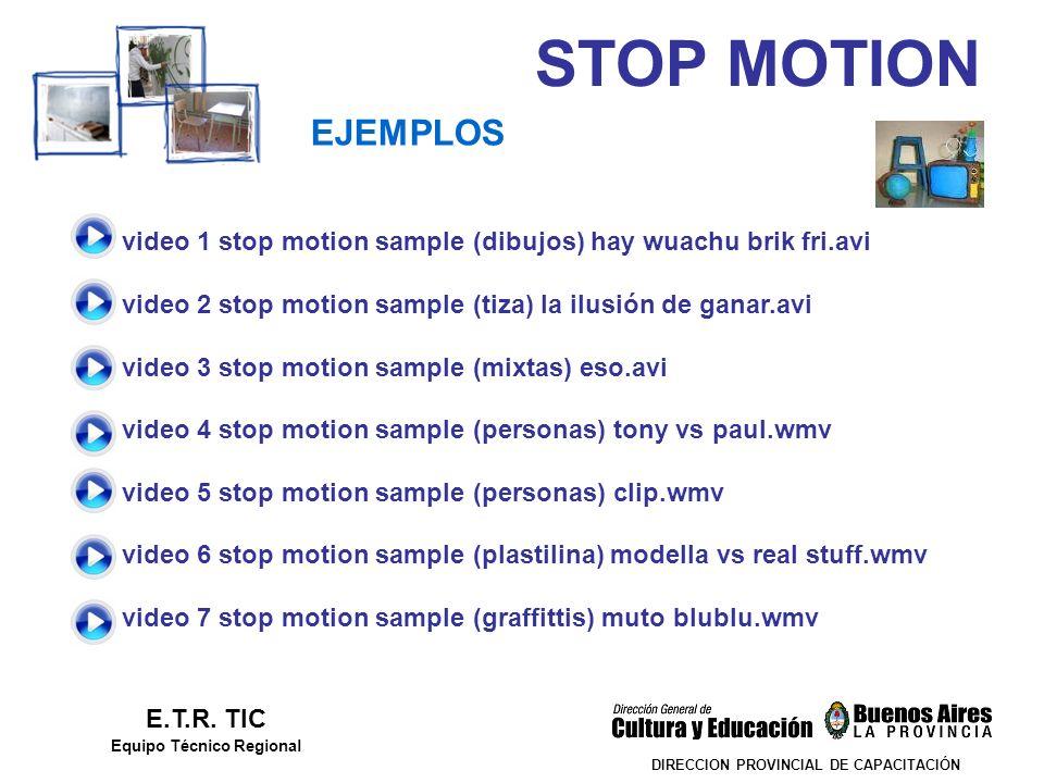 STOP MOTION DIRECCION PROVINCIAL DE CAPACITACIÓN EJEMPLOS E.T.R. TIC Equipo Técnico Regional video 1 stop motion sample (dibujos) hay wuachu brik fri.