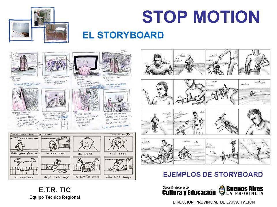 STOP MOTION DIRECCION PROVINCIAL DE CAPACITACIÓN EL STORYBOARD E.T.R. TIC Equipo Técnico Regional EJEMPLOS DE STORYBOARD