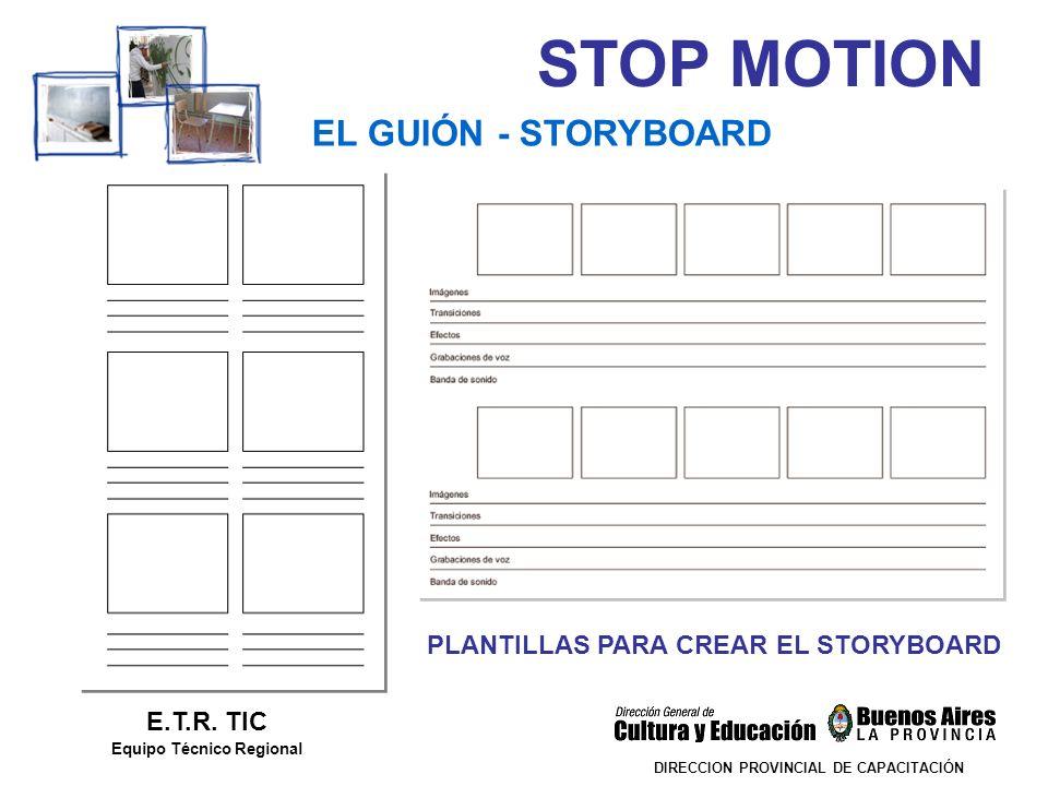 STOP MOTION DIRECCION PROVINCIAL DE CAPACITACIÓN EL GUIÓN - STORYBOARD E.T.R. TIC Equipo Técnico Regional PLANTILLAS PARA CREAR EL STORYBOARD