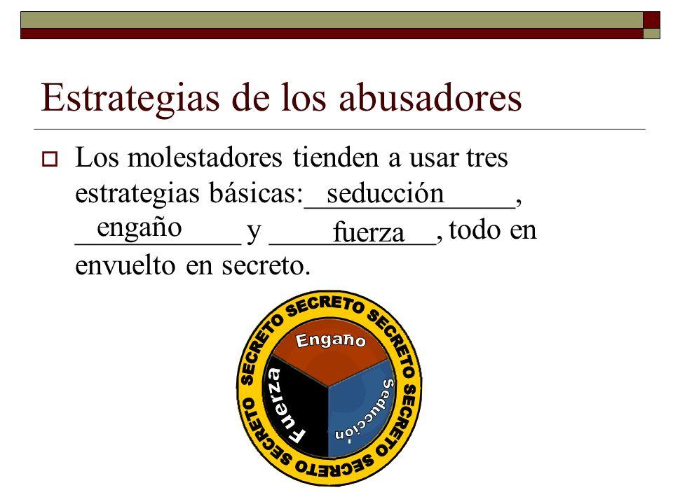 Estrategias de los abusadores Los molestadores tienden a usar tres estrategias básicas:______________, ___________ y ___________, todo en envuelto en