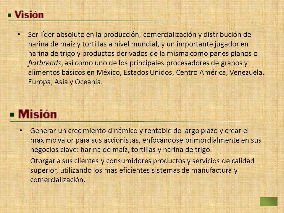 Ser líder absoluto en la producción, comercialización y distribución de harina de maíz y tortillas a nivel mundial, y un importante jugador en harina