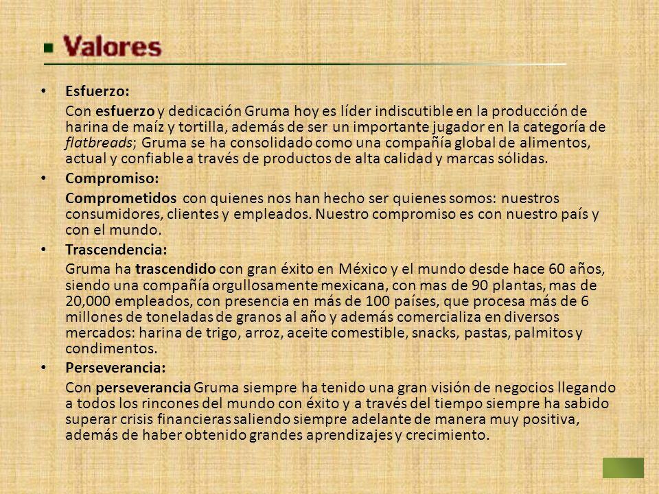 Esfuerzo: Con esfuerzo y dedicación Gruma hoy es líder indiscutible en la producción de harina de maíz y tortilla, además de ser un importante jugador