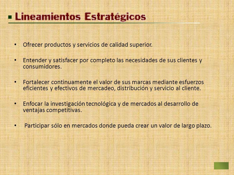 Ofrecer productos y servicios de calidad superior. Entender y satisfacer por completo las necesidades de sus clientes y consumidores. Fortalecer conti