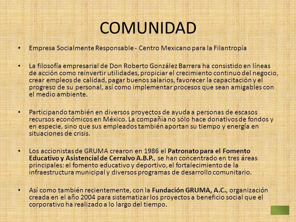COMUNIDAD Empresa Socialmente Responsable - Centro Mexicano para la Filantropía La filosofía empresarial de Don Roberto González Barrera ha consistido