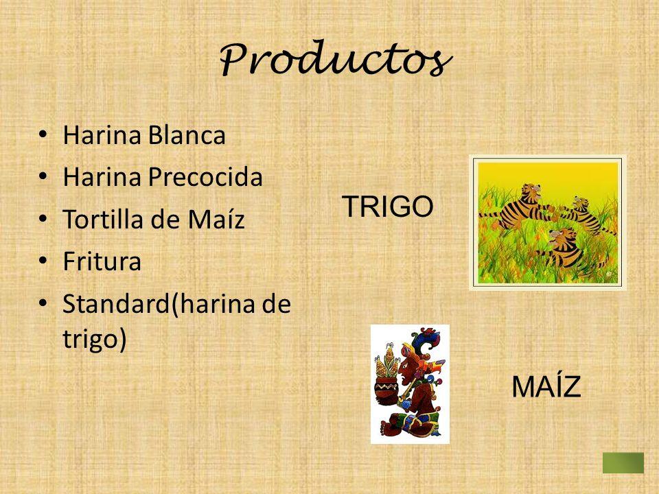 Productos Harina Blanca Harina Precocida Tortilla de Maíz Fritura Standard(harina de trigo) MAÍZ TRIGO