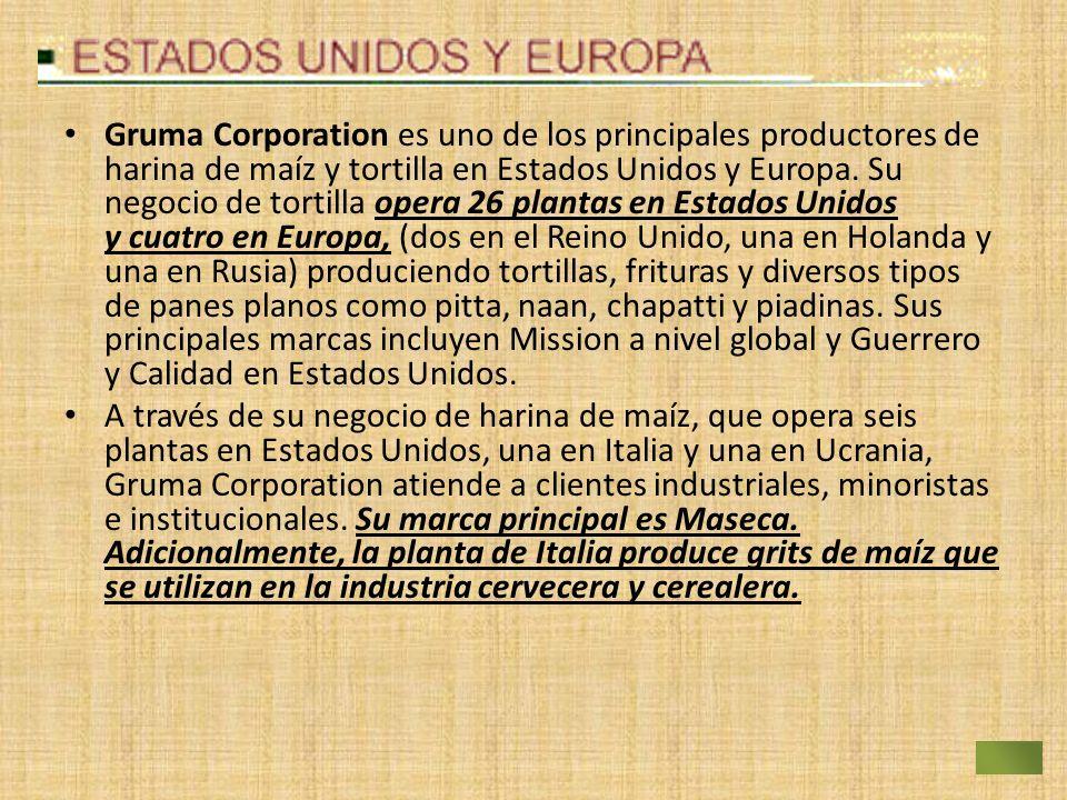 Gruma Corporation es uno de los principales productores de harina de maíz y tortilla en Estados Unidos y Europa. Su negocio de tortilla opera 26 plant