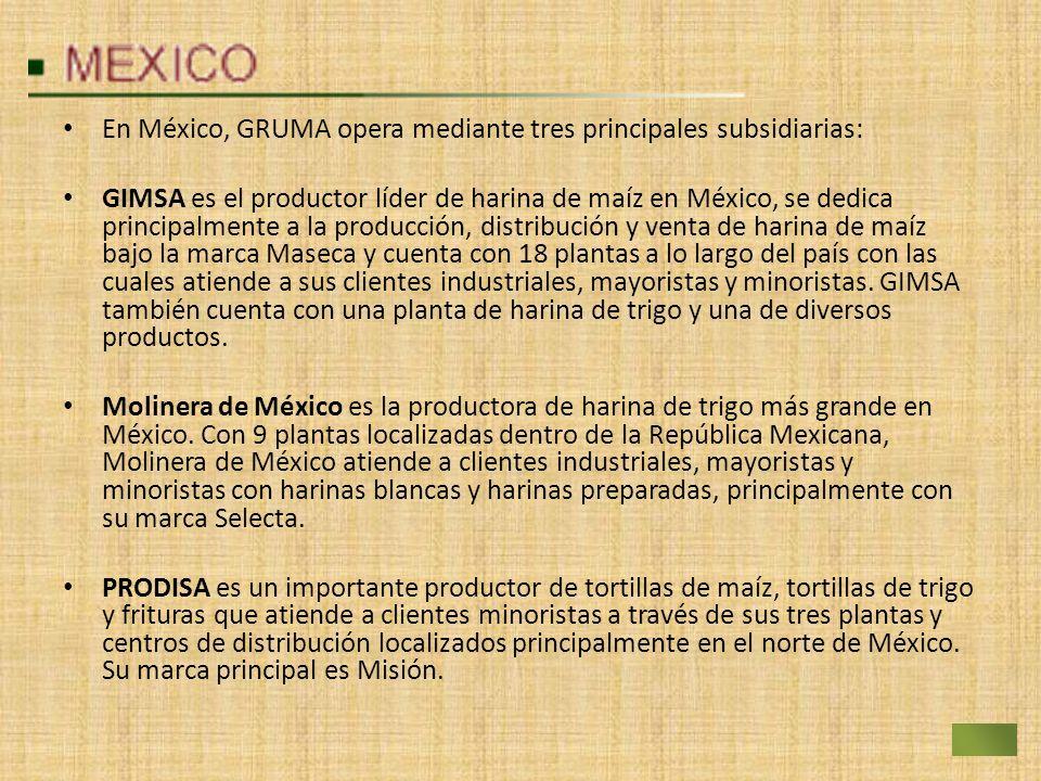 En México, GRUMA opera mediante tres principales subsidiarias: GIMSA es el productor líder de harina de maíz en México, se dedica principalmente a la