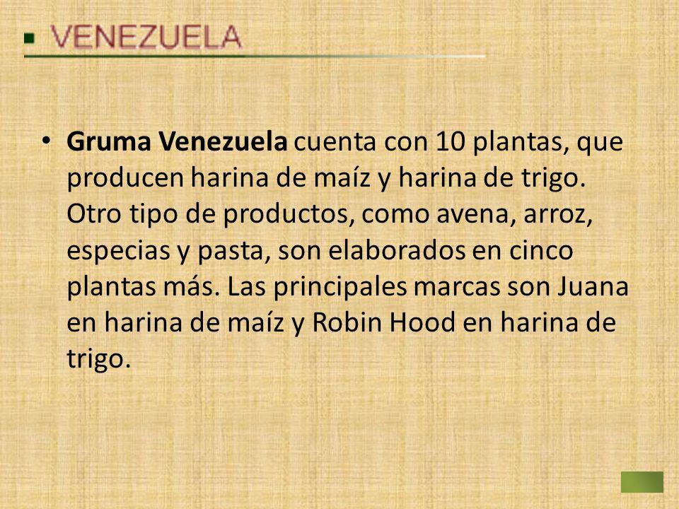 Gruma Venezuela cuenta con 10 plantas, que producen harina de maíz y harina de trigo. Otro tipo de productos, como avena, arroz, especias y pasta, son