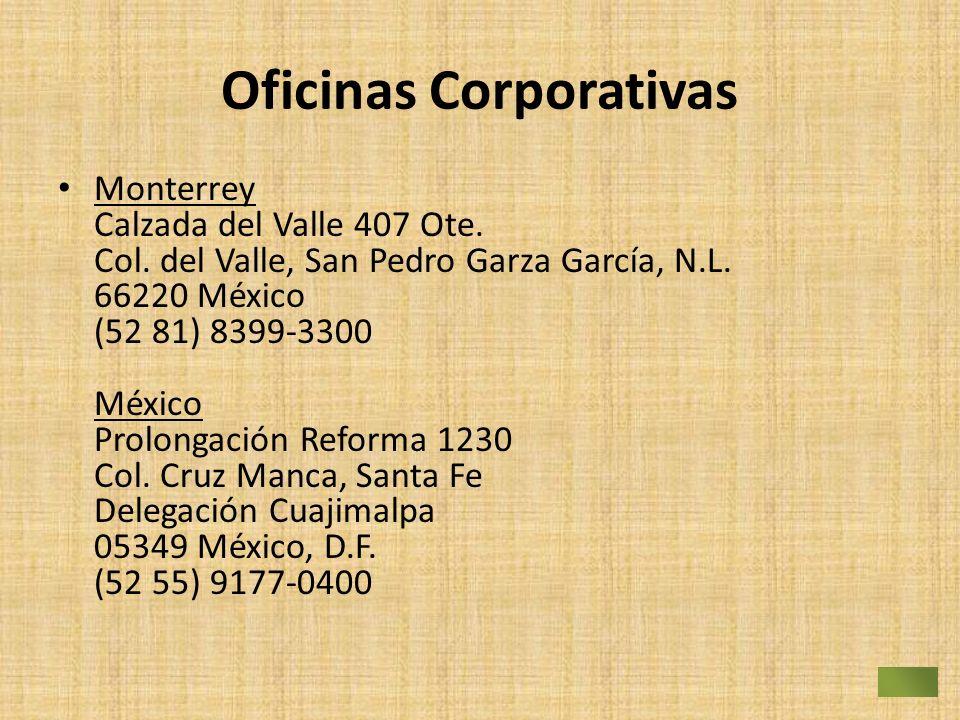 Oficinas Corporativas Monterrey Calzada del Valle 407 Ote. Col. del Valle, San Pedro Garza García, N.L. 66220 México (52 81) 8399-3300 México Prolonga