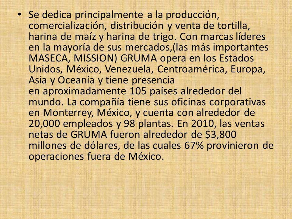 Se dedica principalmente a la producción, comercialización, distribución y venta de tortilla, harina de maíz y harina de trigo. Con marcas líderes en