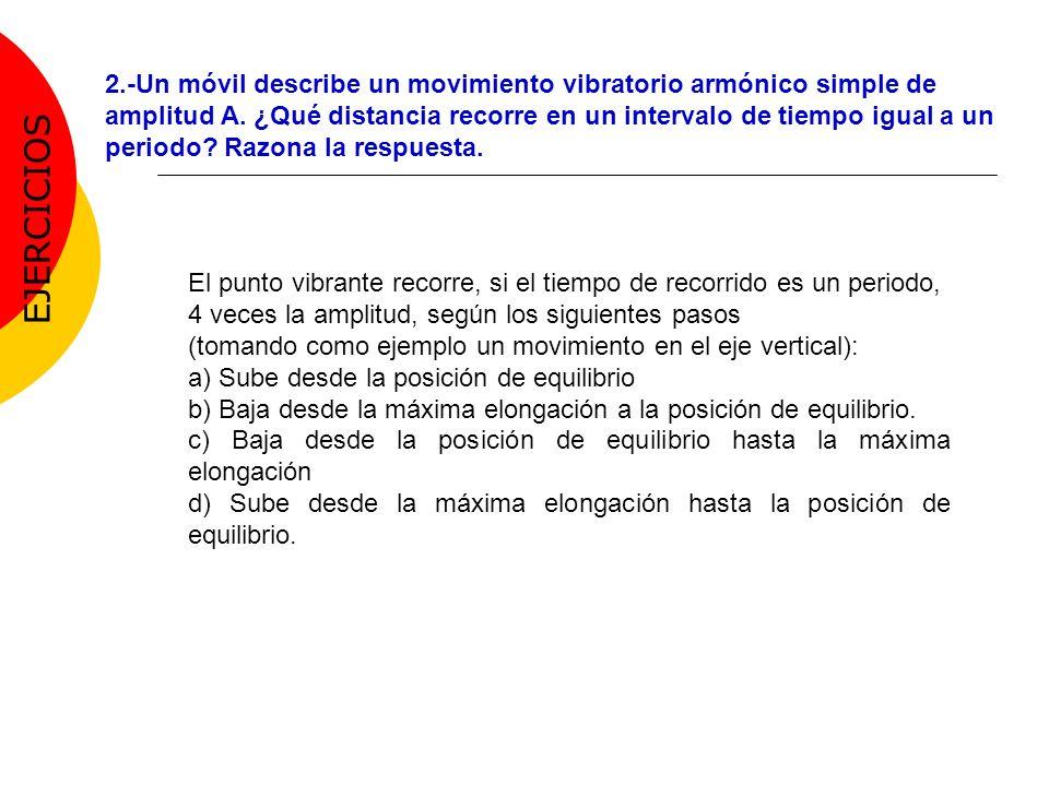 2.-Un móvil describe un movimiento vibratorio armónico simple de amplitud A. ¿Qué distancia recorre en un intervalo de tiempo igual a un periodo? Razo