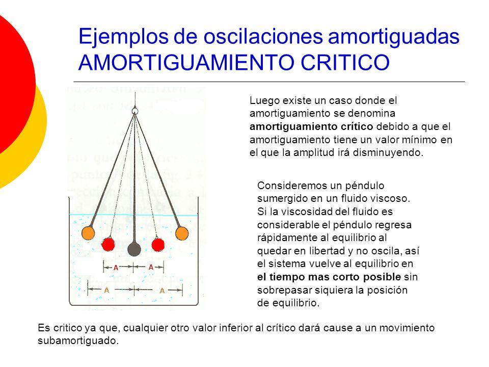 Luego existe un caso donde el amortiguamiento se denomina amortiguamiento crítico debido a que el amortiguamiento tiene un valor mínimo en el que la a