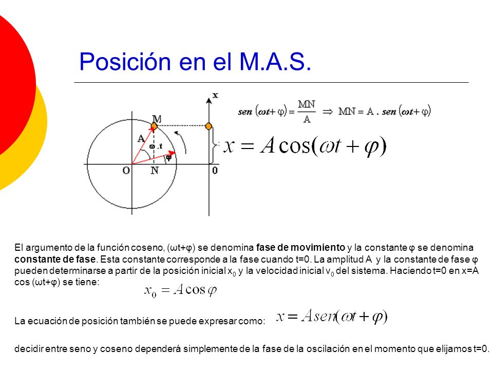 El argumento de la función coseno, (ωt+φ) se denomina fase de movimiento y la constante φ se denomina constante de fase. Esta constante corresponde a