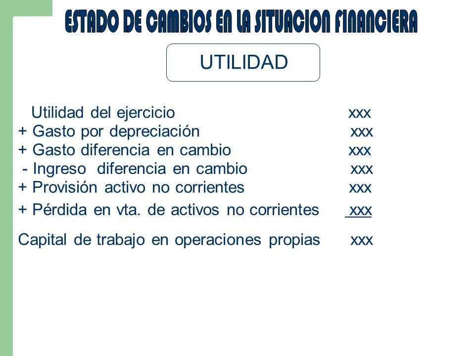 UTILIDAD Utilidad del ejercicio xxx + Gasto por depreciación xxx + Gasto diferencia en cambio xxx - Ingreso diferencia en cambio xxx + Provisión activo no corrientes xxx + Pérdida en vta.