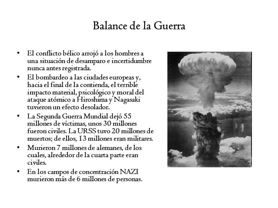 Balance de la Guerra El conflicto bélico arrojó a los hombres a una situación de desamparo e incertidumbre nunca antes registrada. El bombardeo a las