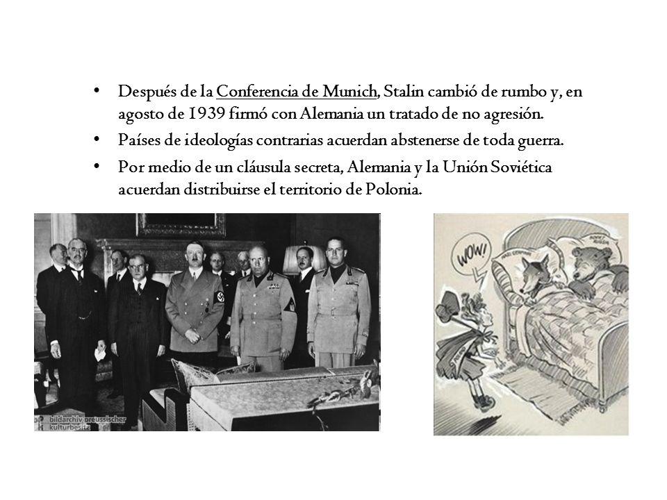 Después de la Conferencia de Munich, Stalin cambió de rumbo y, en agosto de 1939 firmó con Alemania un tratado de no agresión. Países de ideologías co