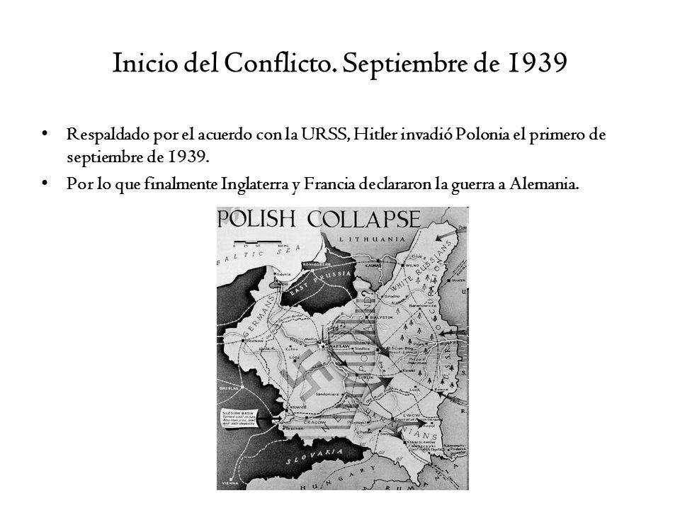 Inicio del Conflicto. Septiembre de 1939 Respaldado por el acuerdo con la URSS, Hitler invadió Polonia el primero de septiembre de 1939. Por lo que fi