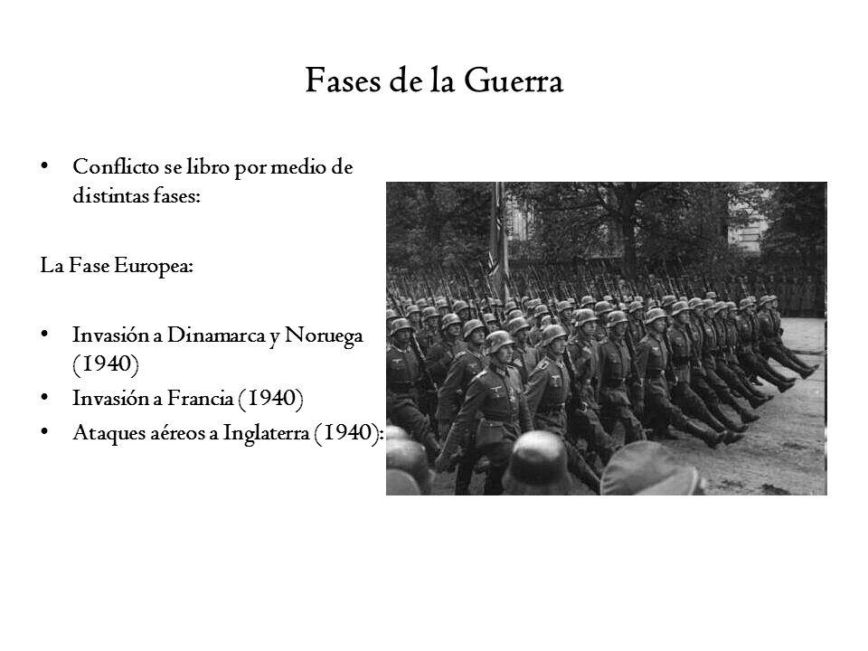 Fases de la Guerra Conflicto se libro por medio de distintas fases: La Fase Europea: Invasión a Dinamarca y Noruega (1940) Invasión a Francia (1940) A