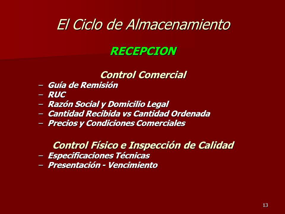 13 El Ciclo de Almacenamiento RECEPCION Control Comercial –Guía de Remisión –RUC –Razón Social y Domicilio Legal –Cantidad Recibida vs Cantidad Ordena