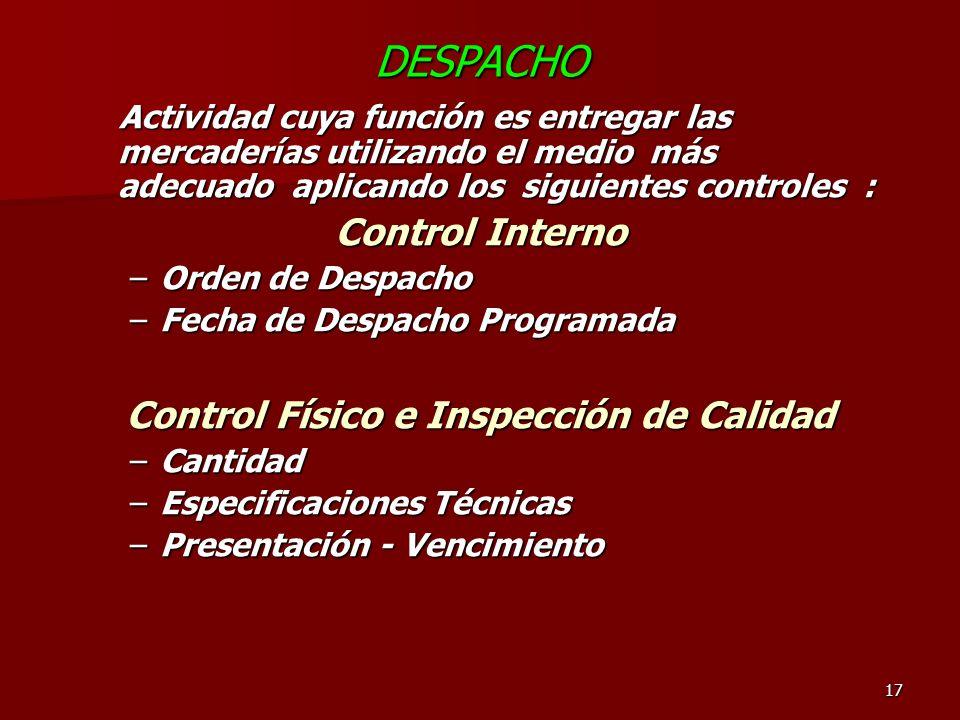 17 DESPACHO Actividad cuya función es entregar las mercaderías utilizando el medio más adecuado aplicando los siguientes controles : Actividad cuya fu
