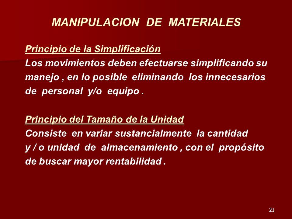 21 MANIPULACION DE MATERIALES Principio de la Simplificación Los movimientos deben efectuarse simplificando su manejo, en lo posible eliminando los in