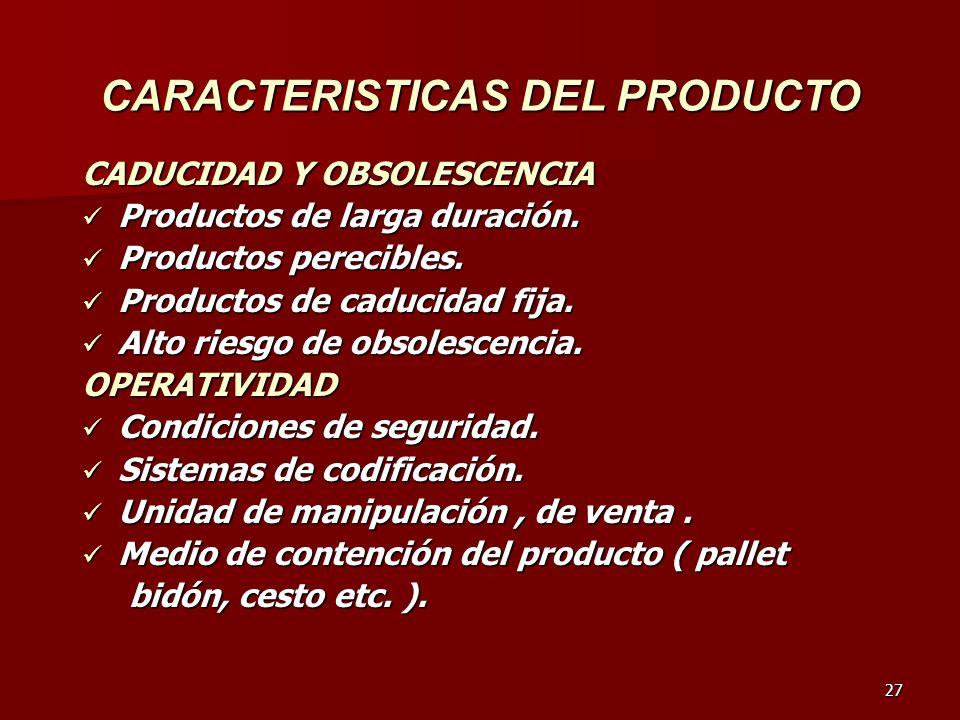 27 CARACTERISTICAS DEL PRODUCTO CADUCIDAD Y OBSOLESCENCIA Productos de larga duración. Productos de larga duración. Productos perecibles. Productos pe