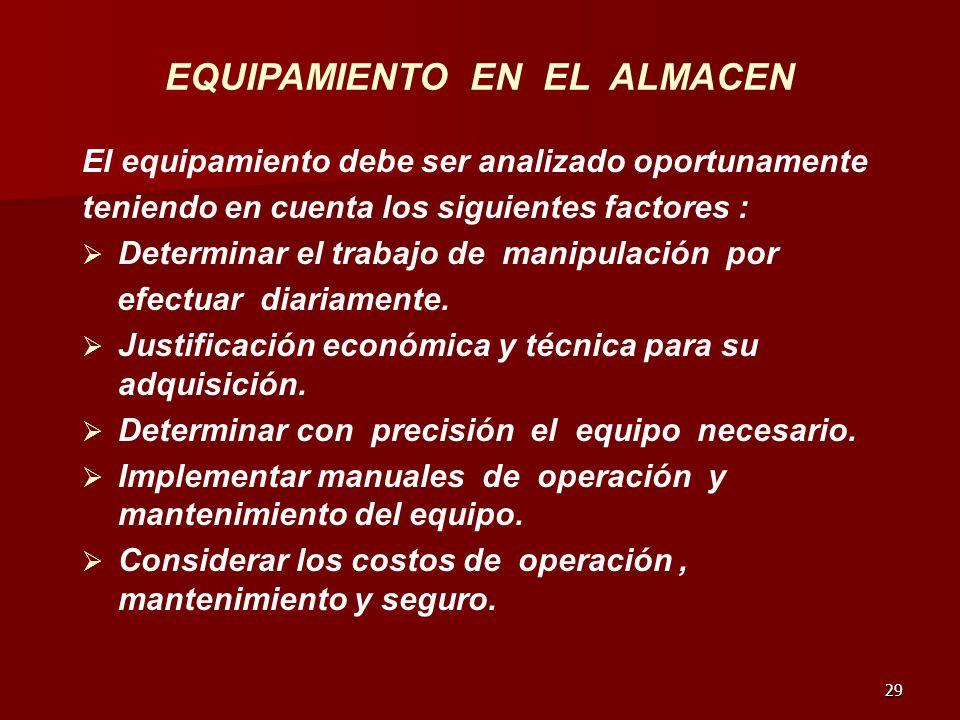 29 EQUIPAMIENTO EN EL ALMACEN El equipamiento debe ser analizado oportunamente teniendo en cuenta los siguientes factores : Determinar el trabajo de m