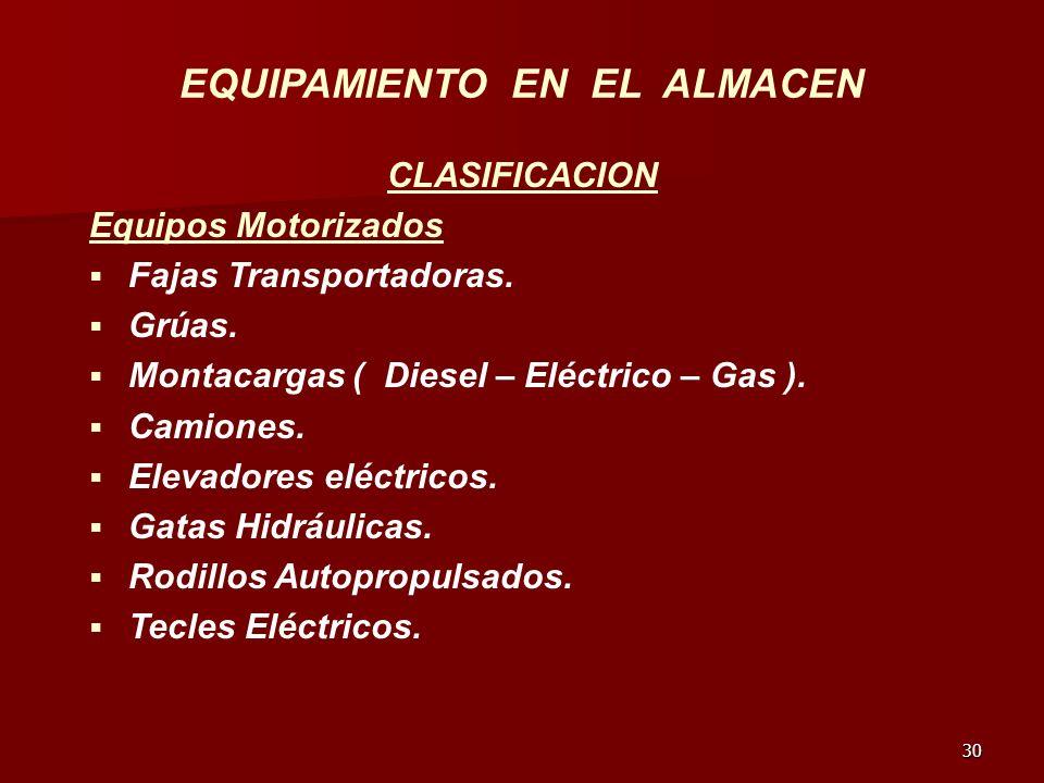 30 EQUIPAMIENTO EN EL ALMACEN CLASIFICACION Equipos Motorizados Fajas Transportadoras. Grúas. Montacargas ( Diesel – Eléctrico – Gas ). Camiones. Elev