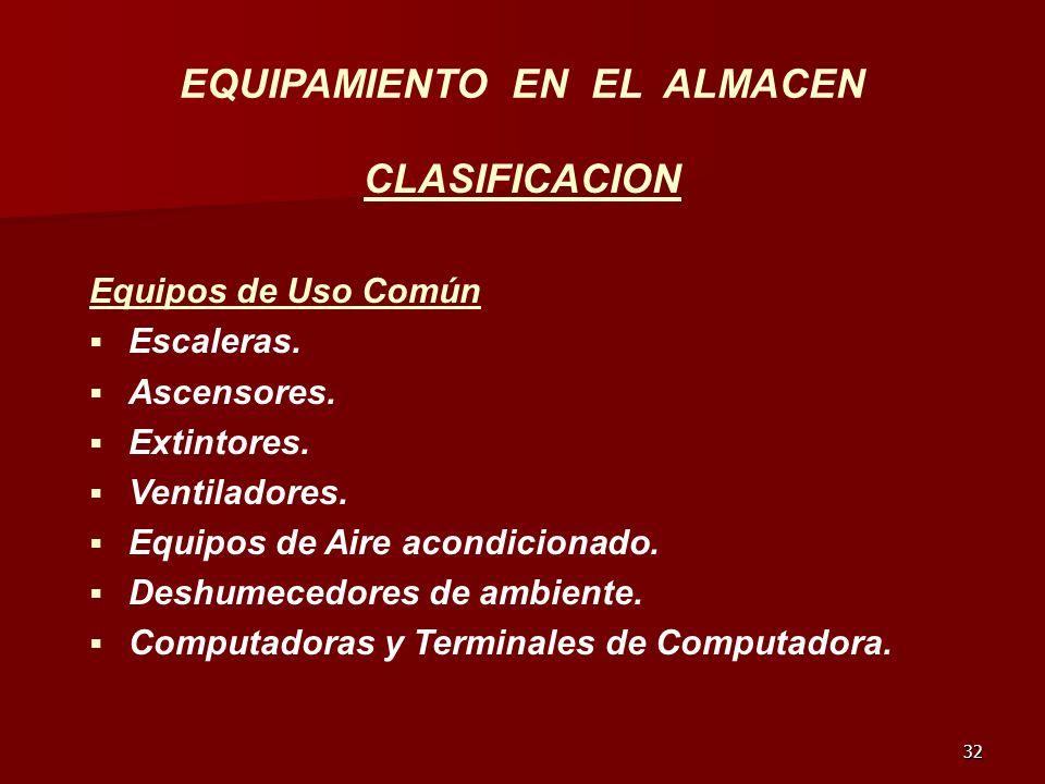 32 EQUIPAMIENTO EN EL ALMACEN CLASIFICACION Equipos de Uso Común Escaleras. Ascensores. Extintores. Ventiladores. Equipos de Aire acondicionado. Deshu