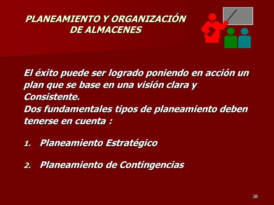 38 PLANEAMIENTO Y ORGANIZACIÓN DE ALMACENES El éxito puede ser logrado poniendo en acción un plan que se base en una visión clara y Consistente. Dos f