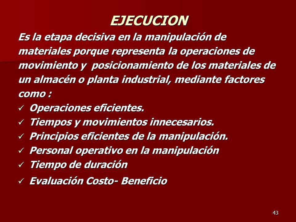 43 EJECUCION Es la etapa decisiva en la manipulación de materiales porque representa la operaciones de movimiento y posicionamiento de los materiales