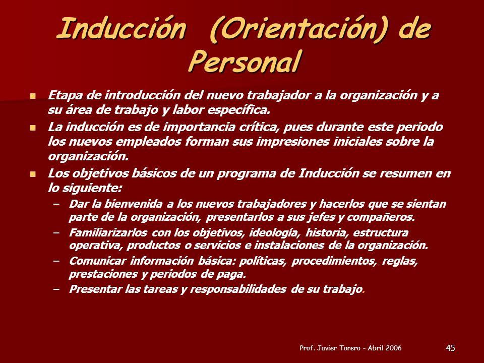 45 Inducción (Orientación) de Personal Etapa de introducción del nuevo trabajador a la organización y a su área de trabajo y labor específica. La indu