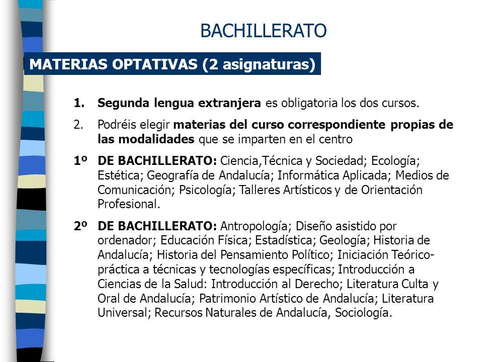 MATERIAS DE MODALIDAD (3 asignaturas) ARTES 1º DE BACHILLERATO2º DE BACHILLERATO - Dibujo artístico - Dibujo técnico - Volumen - Una optativa PLÁSTICA
