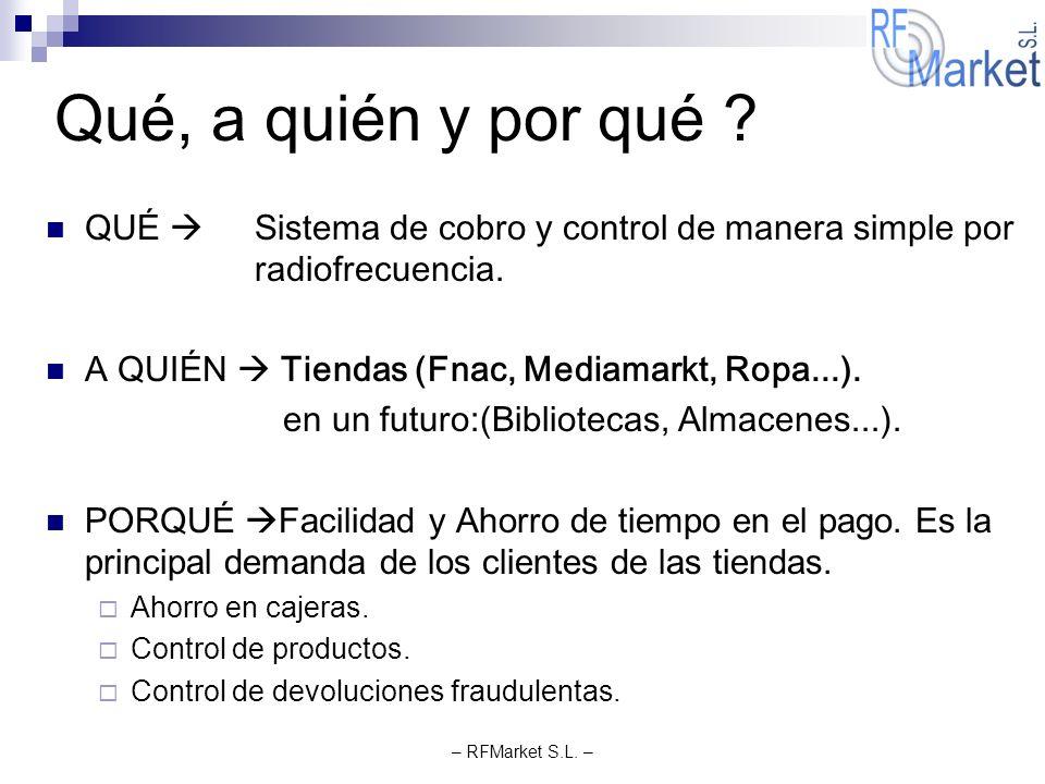 – RFMarket S.L. – Qué, a quién y por qué ? QUÉ Sistema de cobro y control de manera simple por radiofrecuencia. A QUIÉN Tiendas (Fnac, Mediamarkt, Rop