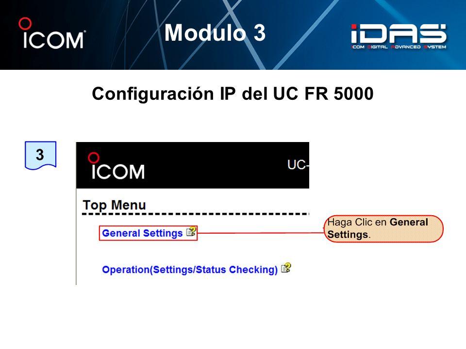 Configuración IP del UC FR 5000 Modulo 3