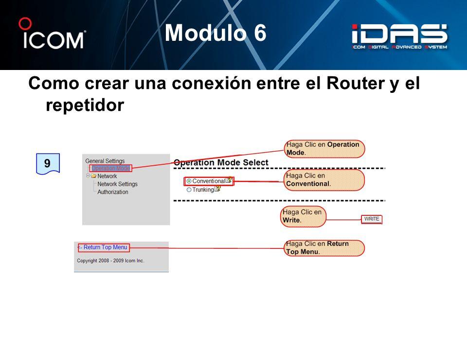 Como crear una conexión entre el Router y el repetidor Modulo 6