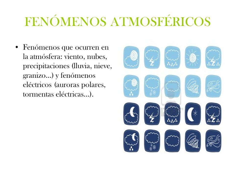 FENÓMENOS ATMOSFÉRICOS Fenómenos que ocurren en la atmósfera: viento, nubes, precipitaciones (lluvia, nieve, granizo...) y fenómenos eléctricos (auror