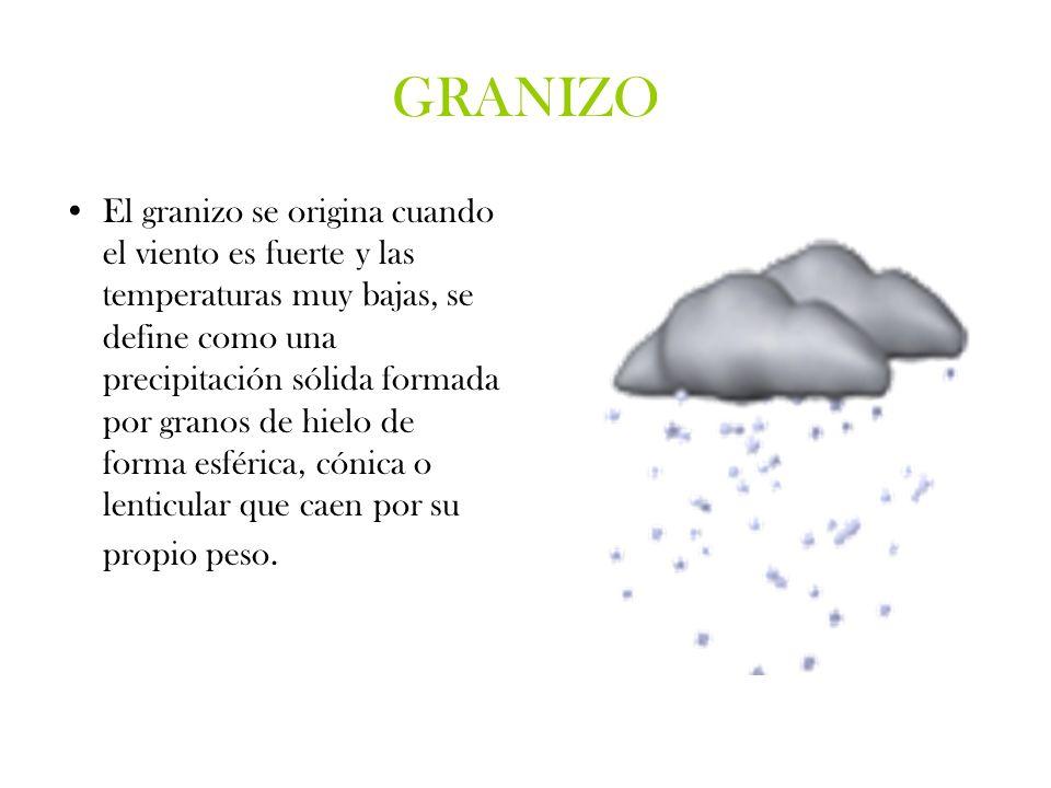 GRANIZO El granizo se origina cuando el viento es fuerte y las temperaturas muy bajas, se define como una precipitación sólida formada por granos de h