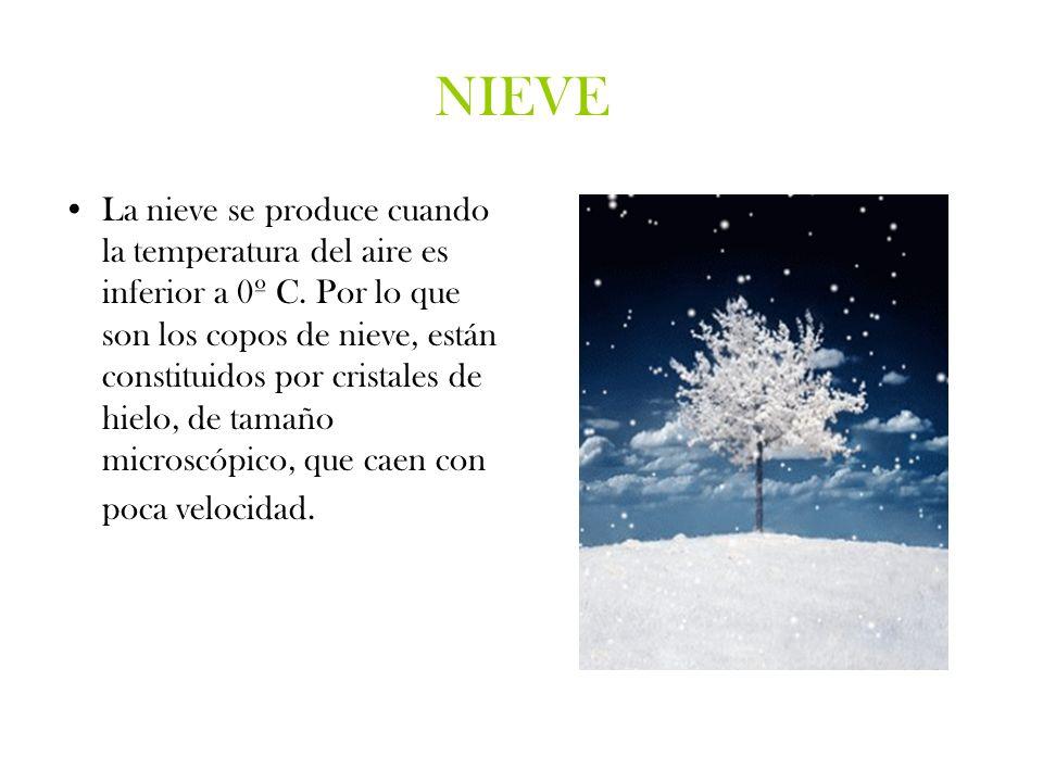 NIEVE La nieve se produce cuando la temperatura del aire es inferior a 0º C. Por lo que son los copos de nieve, están constituidos por cristales de hi