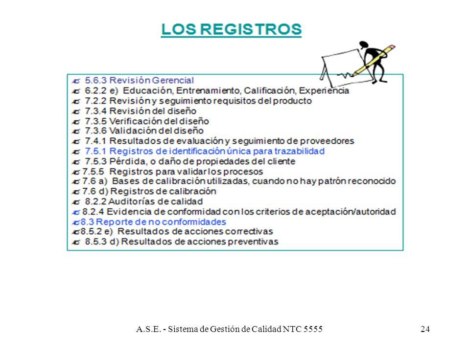 A.S.E. - Sistema de Gestión de Calidad NTC 555523