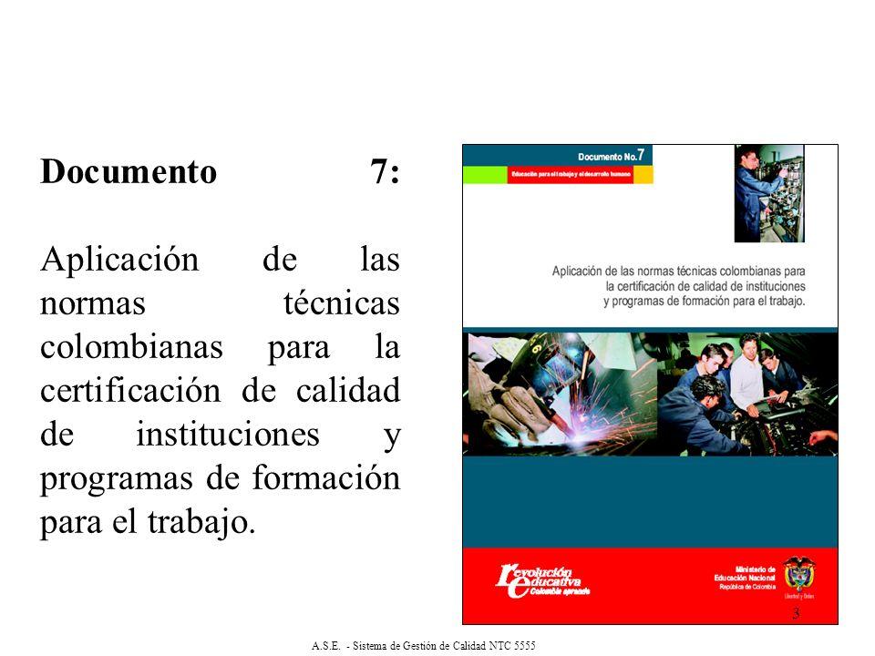 Documento 7: Aplicación de las normas técnicas colombianas para la certificación de calidad de instituciones y programas de formación para el trabajo.