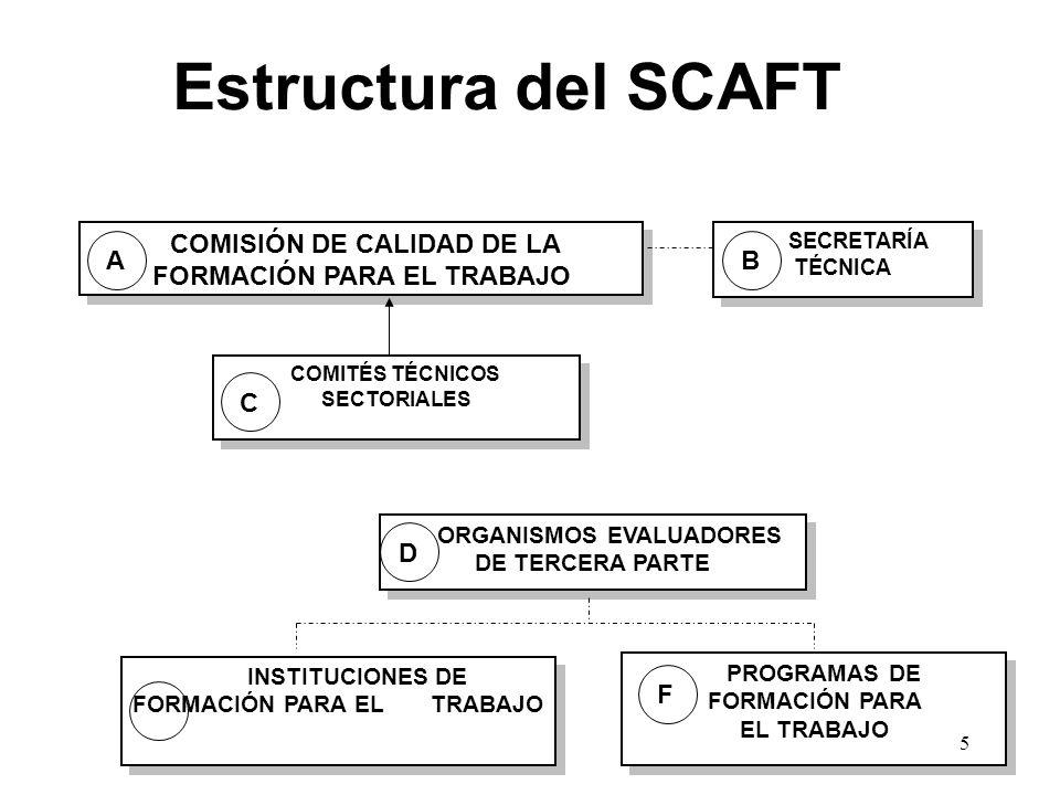 Estructura del SCAFT COMISIÓN DE CALIDAD DE LA FORMACIÓN PARA EL TRABAJO SECRETARÍA TÉCNICA ORGANISMOS EVALUADORES DE TERCERA PARTE PROGRAMAS DE FORMACIÓN PARA EL TRABAJO COMITÉS TÉCNICOS SECTORIALES INSTITUCIONES DE FORMACIÓN PARA EL TRABAJO AB C D F 5