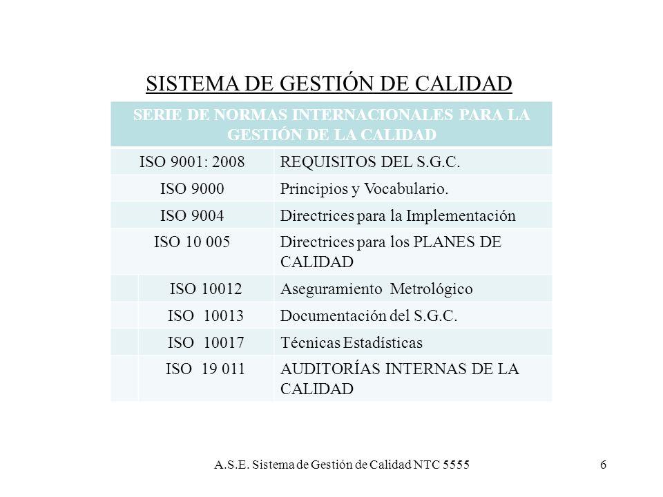 Sistema de Gestión de Calidad NTC 555536